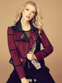 The Nouveau Printed Patchwork Moto Jacket | Keep your look edgy in this moto jacket featuring a faux-leather construction with houndstooth and leopard-print patchwork panels.