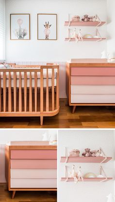 This modern pink nursery has a wall that's home to the crib, a dresser and change station, and custom-designed shelving by Rua 141. The drawers of the dresser were painted in a pink gradient to soften the furniture piece. #ModernNursery #PinkNursery #GirlsBedroom #InteriorDesign #Interiors #NurseryRoom #BabyRoom