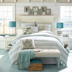 Sunday relaxation tip from #pier1: Gaze at this picture and pretend you're at a New England bed and breakfast.  Or turn your own bedroom into a seaside cottage via our Like2b.uy/Pier1 link in our Instagram profile.