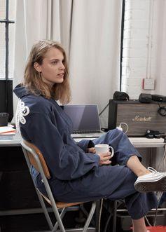 Musician Marika Hackman wears Burberry artist overalls in Interview Magazine. Photographed by Bridget Fleming