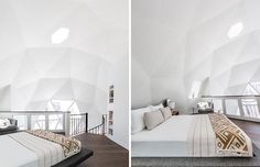 The lofted master bedroom of this geodesic dome house has been kept minimal in its design allowing the architecture of the building to be showcased. A low profile platform bed is has teak nightstands on either side, and a swivel chair creates a reading area by the window. #MasterBedroom #GeodesicDome #LoftBedroom