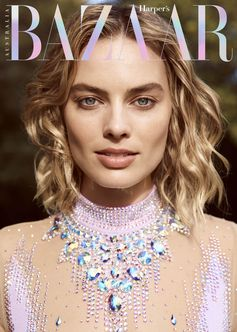Featured on Bazaar Australia's 20th Anniversary cover, Margot Robbie in an all-over crystal embroidered tulle body with trompe l'oeil necklace appliqué from Gucci Spring Summer 2018 by Alessandro Michele.  Photographer: Max Doyle  Stylist: Naomi Smith