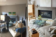 BEFORE + AFTER - BK Interior Design aimed to create a bright, functional living room with a focus on premium materials and subtle details. #ModernLivingRoom #LivingRoom #Fireplace