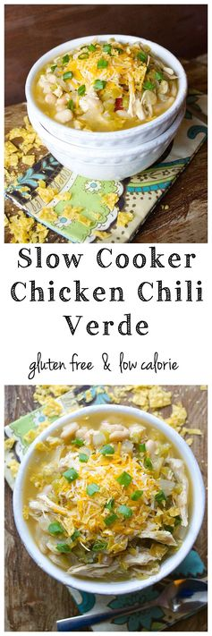 Slow Cooker Chicken Chili Verde! This super easy soup is gluten free and low calorie!