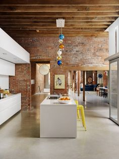 Exposed brick open-plan living