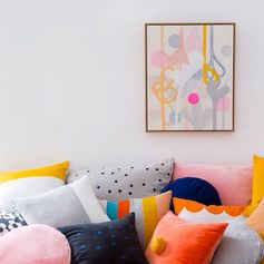 Rachel Castle cushions and artwork