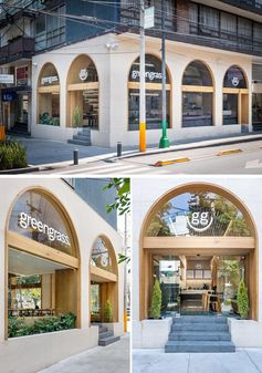 Taller David Dana Arquitectura (TDDA) has remodeled a two level restaurant in Mexico City, that showcases an updated facade with wood-lined arches. #WoodLinedArches #WoodArches #ArchedWindows #RestaurantFacade