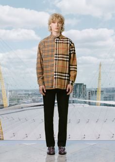 Aaron wears the check flannel shirt with check loafers #GoshaRubchinskiyXBurberry