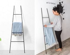 A decorative ladder is a great way to store your throws and blankets, especially if you want to have them on display. The ladders can also be used to store magazines, and can be placed against any wall where you have room. #BlanketStorage #BlanketLadder #ModernDecor #HomeDecor