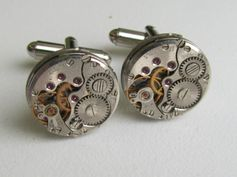 Steampunk Cufflinks with the smallest round vintage by Timewatch