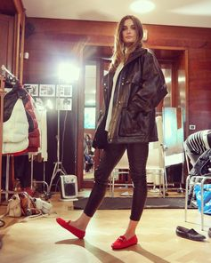 """There's no place like home!"" Derek Blasberg on the red slippers that Andreea Diaconu wears backstage on today's campaign shoot #TodsGommino"
