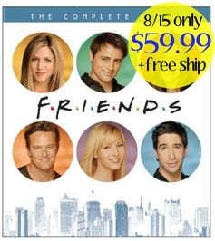 Amazon: (8/15 only)  Friends: The Complete Series Collection DVD = $59.99 + FREE Shipping (reg. $200) + Blu-Ray Option!