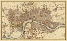 London Antique map Print - 20 x 33