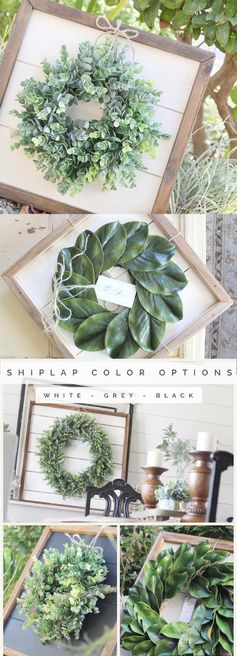 Shiplap Art & Mini Eucalyptus OR Magnolia Wreath - Small 15x15 - Reclaimed Wood - Handmade - Farmhouse - Home Decor - Custom Pieces - Spring - Living Room - Style - Kitchen - Modern - Joanna Gaines - Rustic - Country - Vintage - Ideas #ad #successfulhomedecor