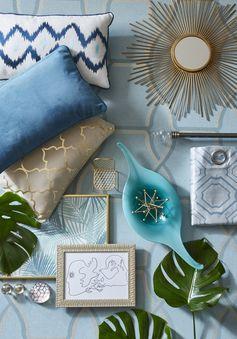 Une palette de couleurs naturelles avec la tendance Riviera ! Coussin graphique, miroir soleil et rideaux à motifs. #coussin #miroir #rideaux #nature #graphique #tendance #papierpeint #wallpaper #madecoamoi #ideedeco #leroymerlin