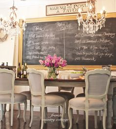 Love this Large chalkboard DIY and the chandelier mix!! for on yellow wall behind dining table How to Paint Frame Glass and Turn it into a Chalkboard