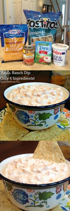 FIESTA RANCH DIP - Only 4 ingredients! Quick and easy dip that's ALWAYS a hit! Read the rave reviews. #Dip #Appetizer #Easy #SweetLittleBluebird