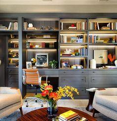 E olha o cinza aí reinando Genteeee!!!! Amei esse Home office com móvel…