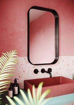 Une salle de bain vieux rose
