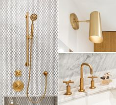Penny Tiles And Brass Fixtures Set The Scene For This Bathroom Design