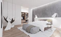 chambre contemporaine avec peinture grise, lit bas design, hamac suspendu et lampadaires blanc neige