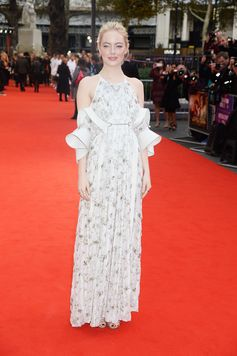 """Emma Stone, latest Louis Vuitton ambassador, wearing a gown from the Spring Summer 2018 Collection by Nicolas Ghesquiere on the red carpet for her latest movie """"Battle of the Sexes""""."""