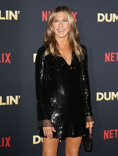 """Jennifer Aniston in a black sequined Stella McCartney dress from the Autumn 2018 collection  at the Netflix premiere of """"Dumplin"""""""