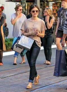 Lucy Hale and her boyfriend shop at LA's The Grove.