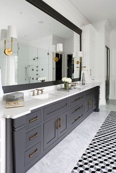 Master bath vanities are in the Iron Ore color used elsewhere in the house.