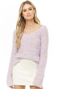 Multicolor Fuzzy Knit Sweater