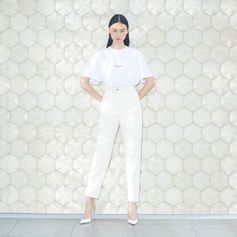 Stand strong in refreshing all-white for the new season, complemented with our clear non-PVC heels. Discover the latest T-shirts, denim and more online now. . #StellaMcCartney #StellasWorld