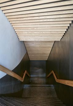 Ash wood slats line the ceiling of these modern stairs in a restaurant. #WoodSlats #CeilingIdeas #ModernStairs