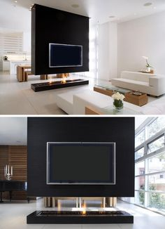 This Room Divider Is A Suspended Wall That Also Includes A Fireplace And TV