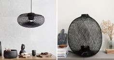 This black modern lamp and pendant light is handmade using artistic weaving techniques with bamboo wood, to create modern home decor.