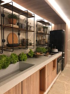 Unique kitchen design | metal open shelves | indoor plans | light wooden cabinets