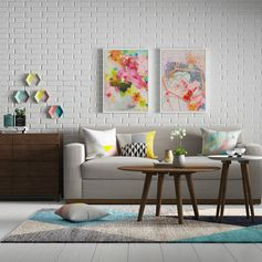 Cheerful splashes of color in a stark white living room