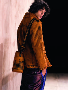 ORANGE DENIM/SHEARLING JACKET #BOTTEGAVENETAFW18