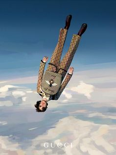 In the skies, Icarus is falling, illustrated by Ignasi Monreal who was inspired by the opening credits of Satoshi Kon's TV series 'Paranoia agent'. Part of the Gucci Gift selection, a wool stole and backpack printed with GG motif and a bee, designed by Alessandro Michele.