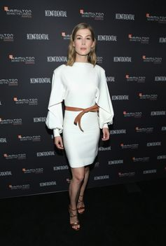 Rosamund Pike wearing a look from the Louis Vuitton Cruise 2019 Collection by Nicolas Ghesquière. At the Hamilton Behind the Camera Awards, on November 4th, 2018 in Los Angeles.