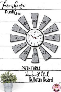 Farmhouse Classroom Windmill Clock EDITABLE   Bonus: PNGs for Bitmoji Classroom