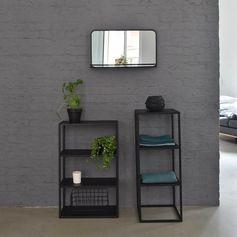 Miroir horizontal en métal noir avec tablette decoclico Factory