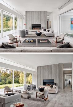 Corrugated concrete was used for the fireplace surround inside this home in the living room. This not only adds a textural element to the modern interior, but also helps to create a sense of height through the use of vertical lines.  #ConcreteWalls #CorrugatedConcrete #ConcreteFireplace #FireplaceSurround