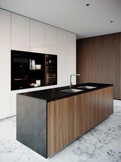 Cuisine moderne épurée bois, noir, blanc
