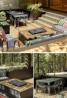 An outdoor conversation pit with fire table, dining area, lounge, and planters.