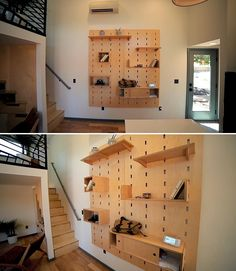 A tiny house interior with a customizable pegboard wall with shelves and cabinets.