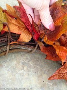 (4-A) Fall Leaf Wreath:  Work your way around the wreath, overlapping the leaves.