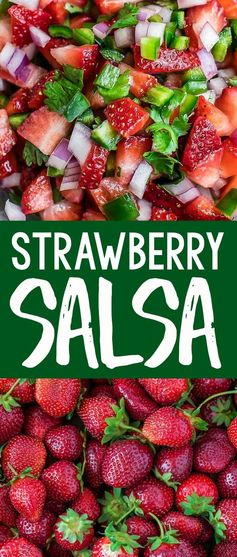 This easy Strawberry Salsa recipe is fresh, delicious, and totally addictive! It makes a great appetizer for parties and picnics and tastes amazing over shrimp, chicken, fish, salads, tacos, and so much more!