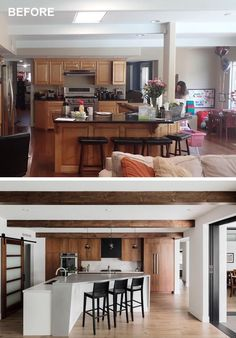 A renovated kitchen now has a larger kitchen island with seating.