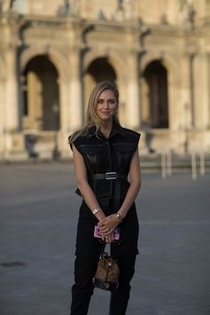 Chiara Ferragni wearing a Louis Vuitton outfit from the Fall-Winter 2017 Collection, attending the Louis Vuitton Spring-Summer 2018 Fashion Show at Musée du Louvre, Paris.