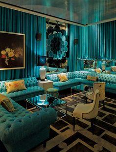Nice blue interior at The Den bar via truelocal.com.au/business/the-den/sydney